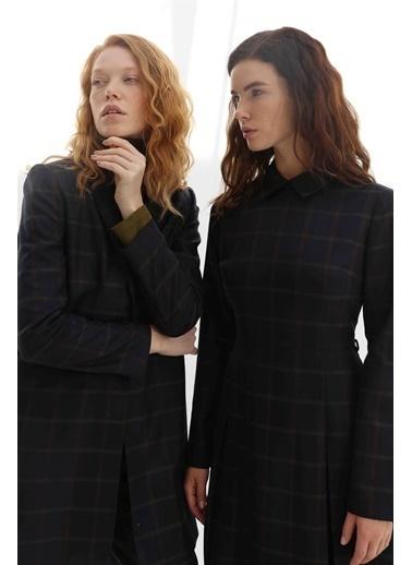 Vivencia Cep ve Kemer Detaylı Ekose Kadın Elbise  Lacivert